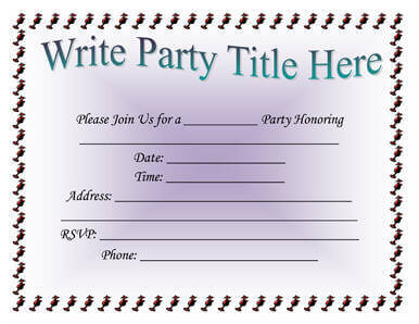 Simple Party Invitation Template  Birthday Party Invitation Template Word