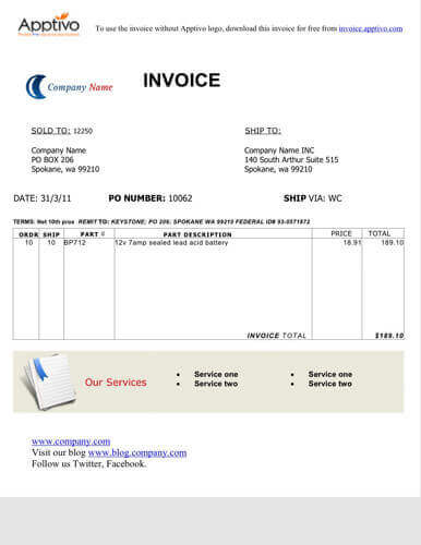 Sales Invoice Templates Examples In Word And Excel - Simple invoice format in excel for service business