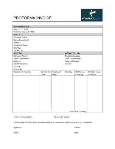 Simple free proforma invoice