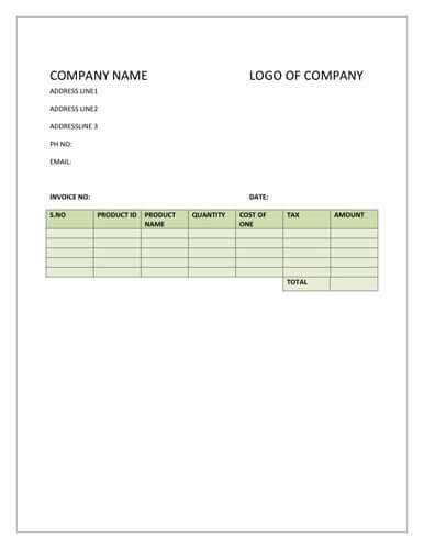 Simple product invoice