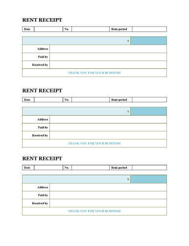 Simple rent receipt three per page