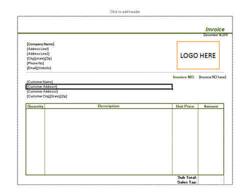 Sales Invoice Templates Examples In Word And Excel - Sales invoice template excel