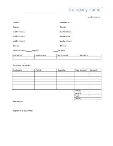 Simple Service Invoice  Manual Receipt Template