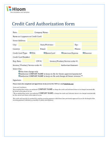 Single or Recurring Invoice Charge Authorization
