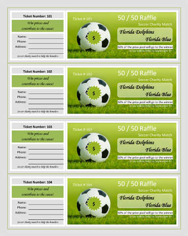 Soccer Charity Match Raffle Ticket Template