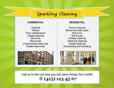 sparkling clean pop art cleaning flyer template