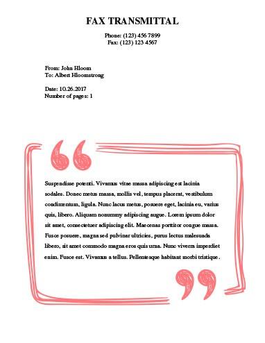 Speech Bubble Fax Template