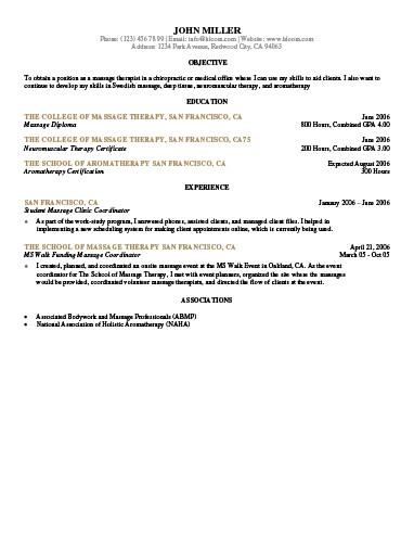 Student Massage Clinic Coordinator Resume