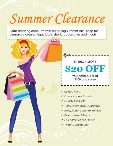 Summer Clearance Clothing Sale Flyer