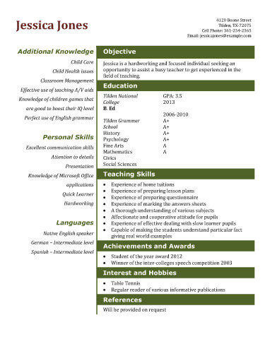 Charming Teaching Assistant Resume Template