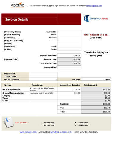 travel bill templates hloom