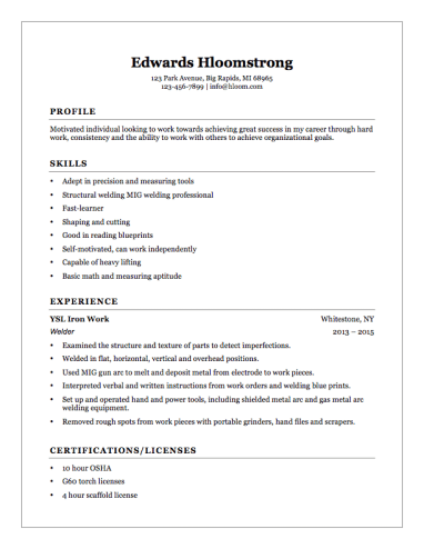 Welder Helper Resume Example  Resume Helper