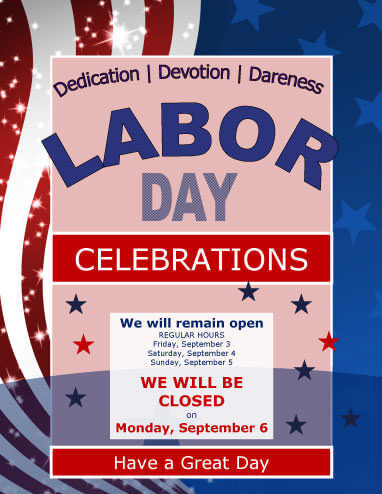 Work Hours Notice Labor Day Flyer