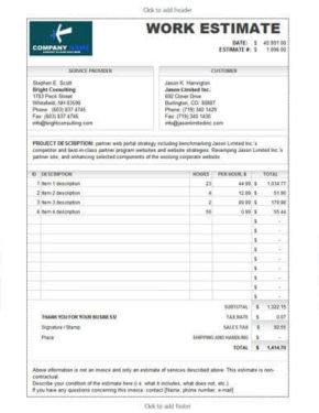 Work estimate template calculates total