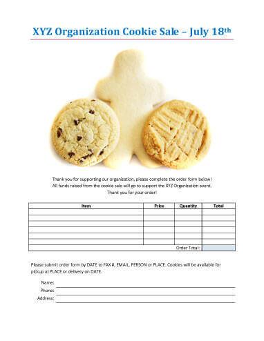 Bake Sale Order Form Template