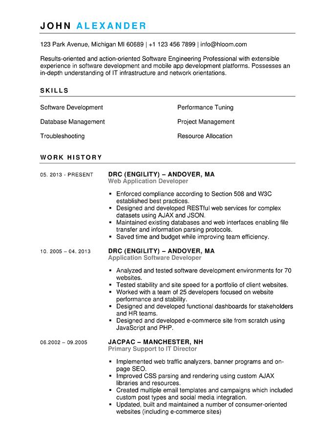 Curriculum di due pagine