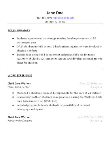 child care resumes