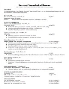 chronological nursing resume example