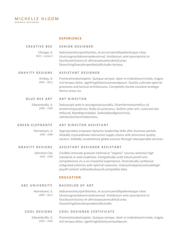 Designer senior - Titoli in evidenza in arancione