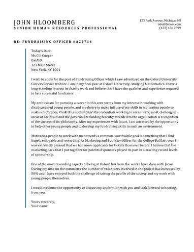 Indent Line cover letter