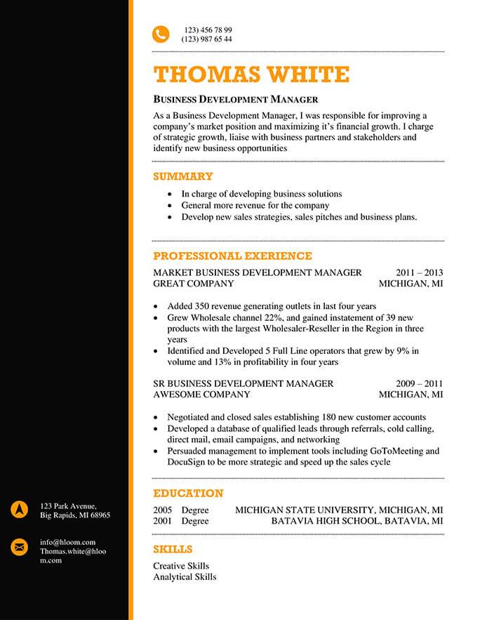Black and Orange Resume Template