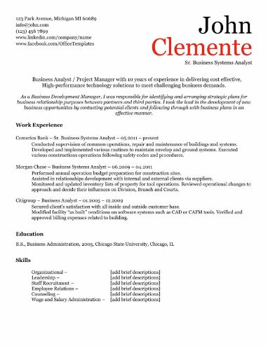 Business Minded Resume Template