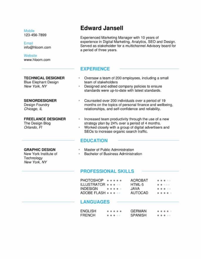 Discreetly Modern Resume Template