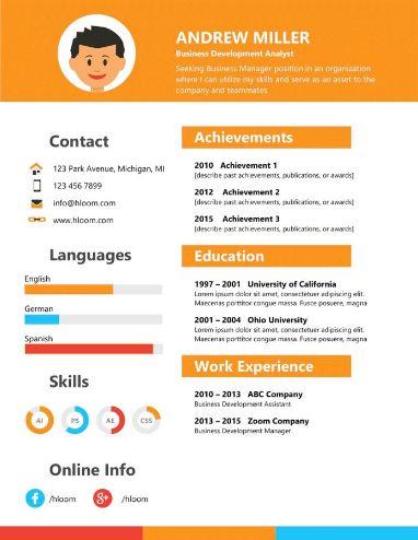 Modèle de CV Compétences STGM en orange