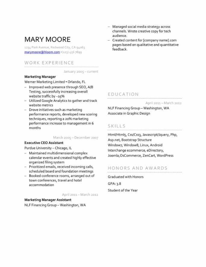 Split Page Resume Template