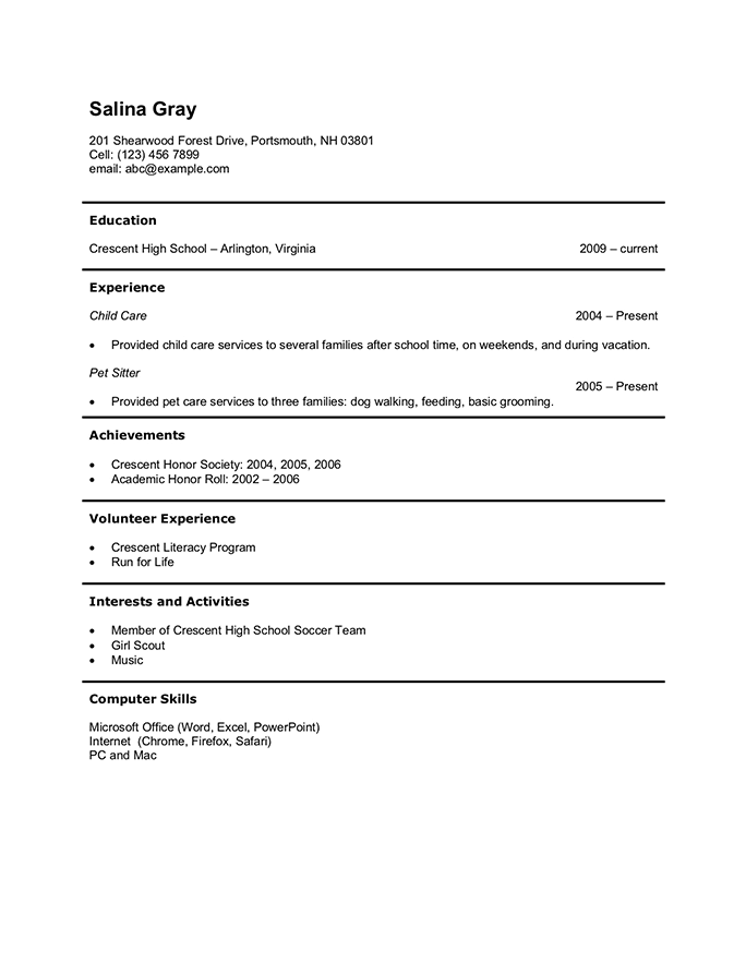 General Purpose Teen Resume