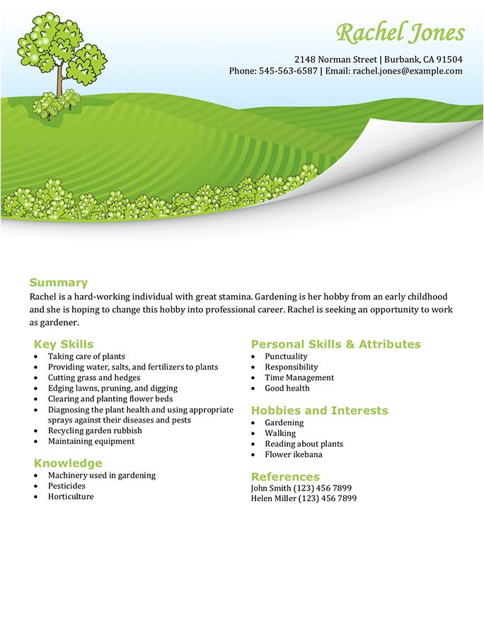 CV de jardinage / entretien des pelouses